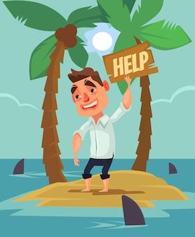 Office worker man character lost on desert island between shark