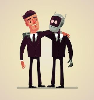 Office worker man and robot best friends flat cartoon illustration