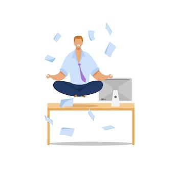 Office worker meditating flat illustration