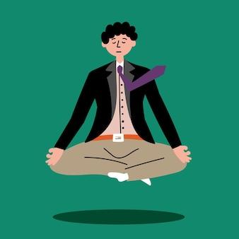 Office worker meditating floating air levitating