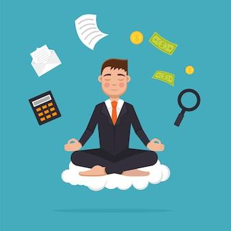 Office worker  meditating, sitting in lotus pose.  businessman meditation and  multitasking concept.  illustration.