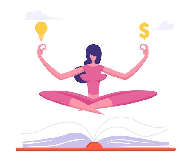 Офисный работник медитирует со знаком доллара и лампочкой