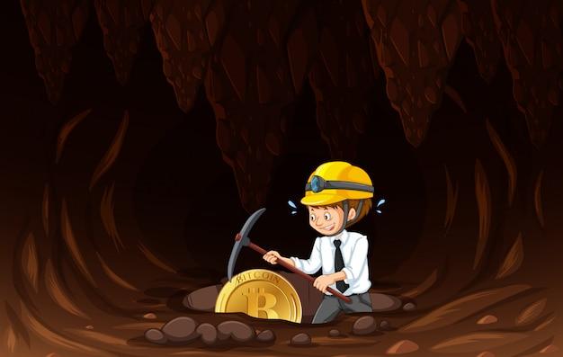 An office worker mining coin