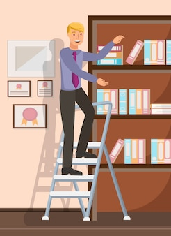 Office worker reaching documents flat illustration