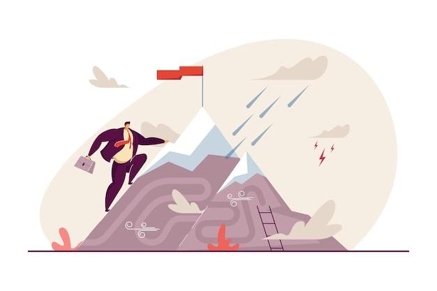 Офисный работник, достигающий вершины горы с плоской иллюстрацией флага