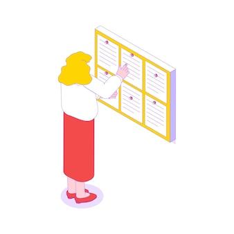 Офисный работник читает информацию на доске изометрической иллюстрации 3d