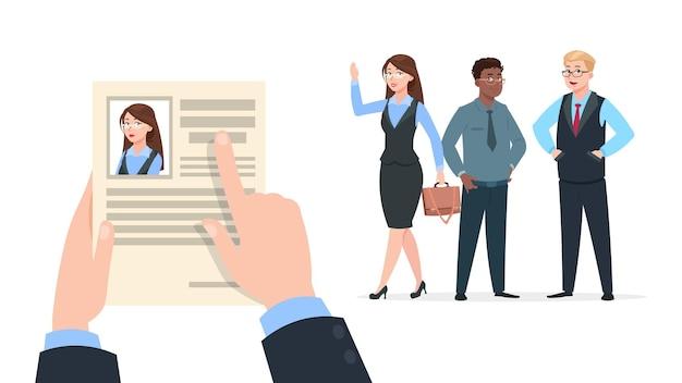 회사원 모집합니다. 인적 자원 고용 직원, 채용 담당자 선택. 행복한 젊은 여성은 직업을 갖고 있고, 인사 관리자는 남성이 아닌 여성을 선택합니다. 비즈니스 성공, 만화 사람들 벡터 일러스트 레이 션