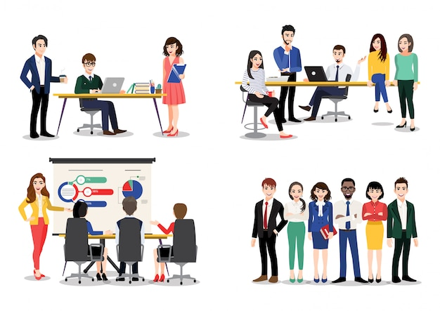 Office worker set. bundle of men and women taking part in business meeting, negotiation, brainstorming, talking to each other. colorful  illustration in flat cartoon style