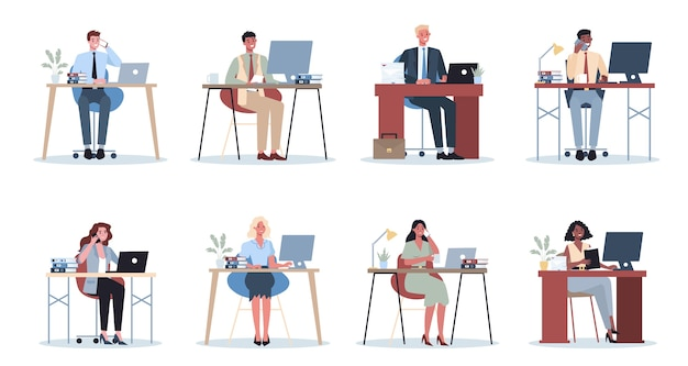 Office worker set. business people character in office. person in suit doing different work. employee at their workplace. isolated flat vector illustration