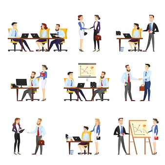 Office worker set. collection of business people