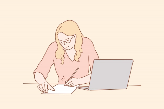 Office worker signing contract, business concept