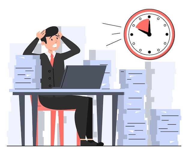Офисный работник сидит с кучей бумаги в панике