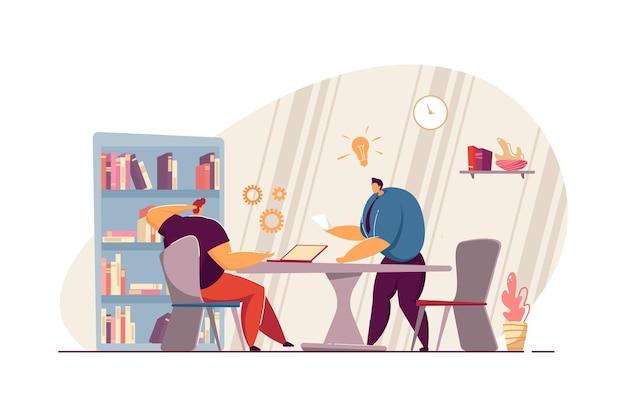 上司に独創的なアイデアを提案するサラリーマン。職場のフラットベクトルイラストでアイデアを議論する漫画監督とジュニアキャラクター。チームワーク、ソリューション、ブレーンストーミングの概念