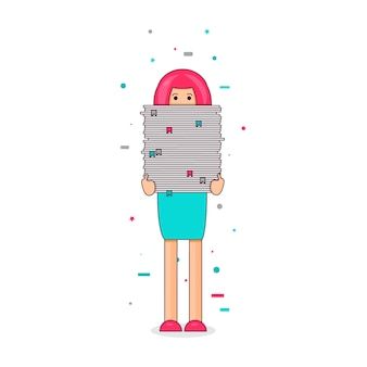 Office worker with big stack of paper. she has a lot of work. all hands' job illustration. vector