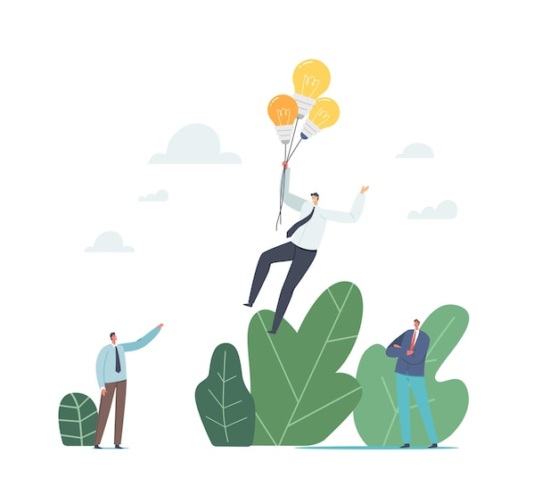 창의적인 아이디어를 가진 회사원은 성공을 향해 날아갑니다. 목표 달성, 경쟁 우위. 비즈니스 캐릭터는 전구 풍선을 타고 날아가는 사업가를 바라보고 있습니다. 만화 사람들 벡터 일러스트 레이 션