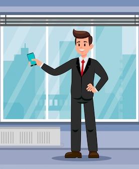 Офисный работник с смартфоном плоской иллюстрации