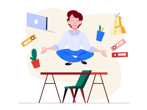 Office worker in yoga pose. meditation on the work. calm and relaxation, stress reduce.   illustration in cartoon style