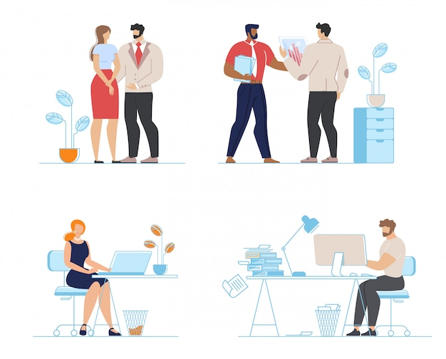 Office workers along illustration set