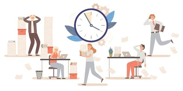 마감일을 맞추기 위해 일하는 직장인과 사업가들. 스트레스가 많은 환경에서 남성과 여성 캐릭터 동료. 시간 관리, 압력 벡터 일러스트에서 직원