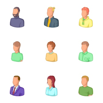 Office workers avatars icons set, cartoon style