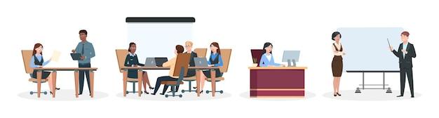 Офисные работники. деловые ситуации, мозговой штурм и обсуждение. работа в команде, леди-босс сидит за столом, менеджеры или руководители групп возле информационного табло. профессиональный мультфильм векторные иллюстрации