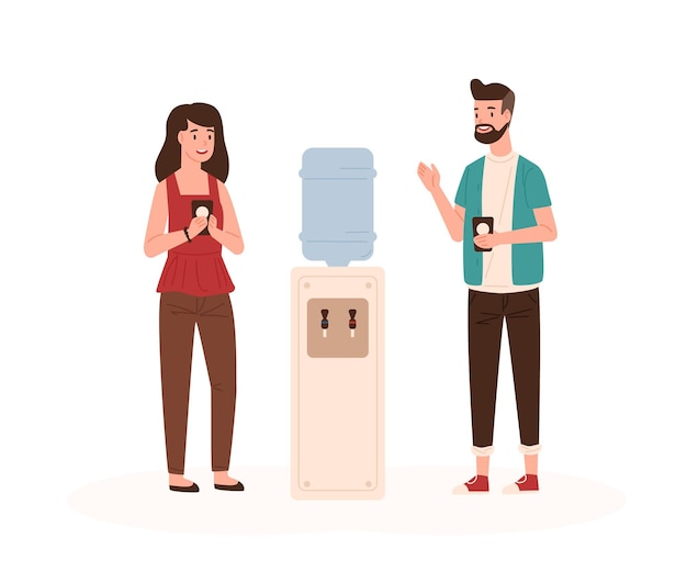 Office workers chatting near water cooler flat illustration. colleagues conversation Premium Vector
