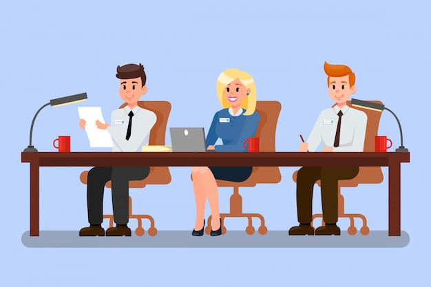 Office workers at conference vector illustration