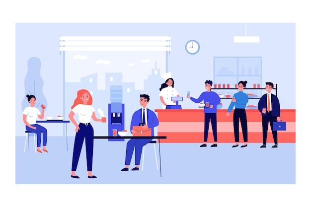 식당에서 식사를 하는 직장인들. 직원들이 줄을 서서 쟁반에 음식을 놓고 평평한 벡터 삽화를 이야기합니다. 점심 시간, 웹 사이트 디자인 또는 방문 웹 페이지를 위한 커뮤니케이션 개념