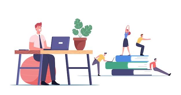 職場の概念で運動するサラリーマン。職場でスクワットやストレッチをしている男性と女性のキャラクター、腕と脚、ヘルスケア。漫画の人々のベクトル図