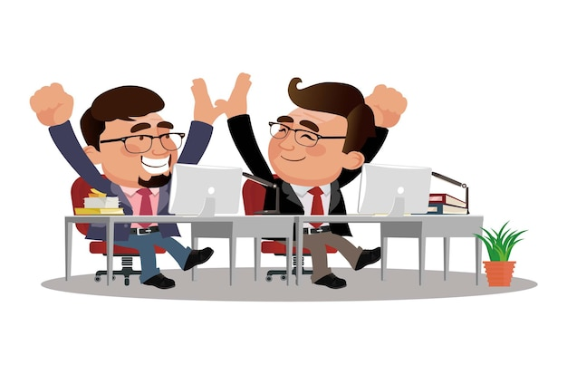 Office workers give five to each other.