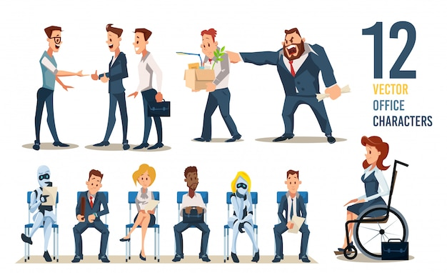 Office workers for hire vector characters set
