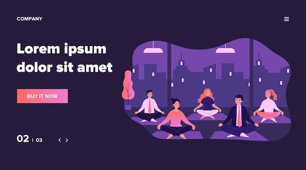 ヨガのグループ図のサラリーマン。瞑想のための精神的なポーズで座っている漫画ビジネス人々。マインドフルネスと仕事のコンセプト