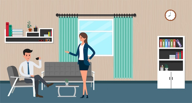 Office workers in interior building, characters activities flat design of business people, vector illustration.
