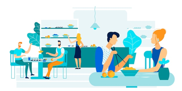 Office workers lunch together vector illustration.