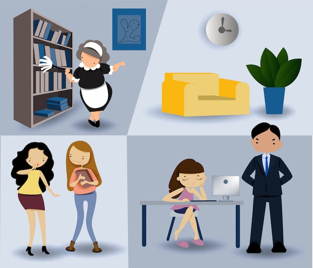 Office workers, males and females working in office vector.