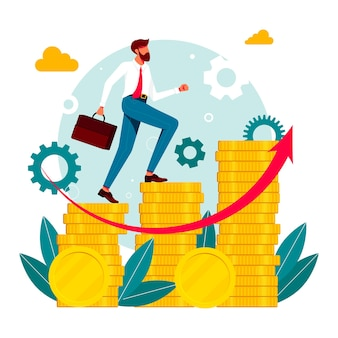 Office workers, managers, businessmen running up the career stairs of money. vector illustration