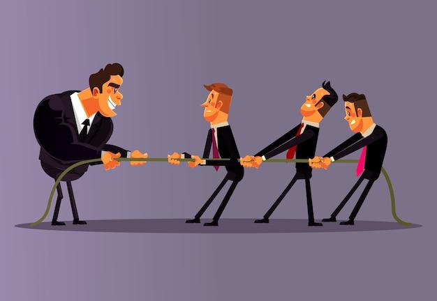 Офисные работники, люди и мужчины, соревнуются друг с другом и тянут за веревку вместе.