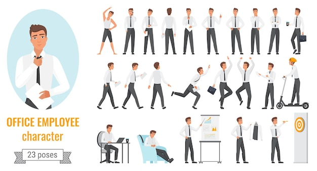 Office workers poses infographic set young employee businessman character working