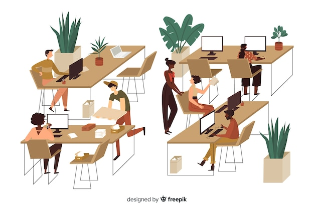 Office workers sitting at desks illustrated