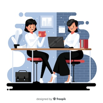 Office workers sitting at desks