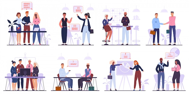 Office workers team. business meeting, brainstorming and corporate conference, business team characters group   illustration set. teamwork meeting and conference, negotiation and deal