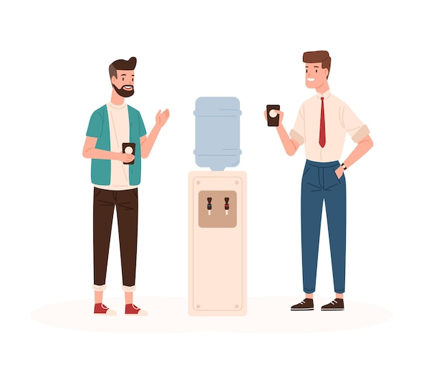 Office workers and water cooler flat vector illustration. colleagues conversation