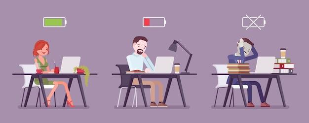 Офисные работники с индикатором уровня заряда аккумулятора