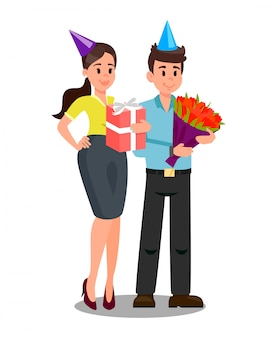 Office workers with gifts vector illustration