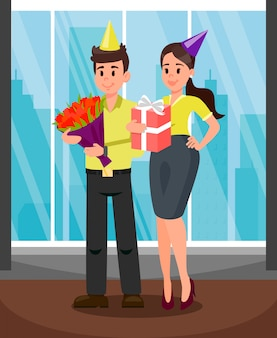 Office workers with presents vector illustration