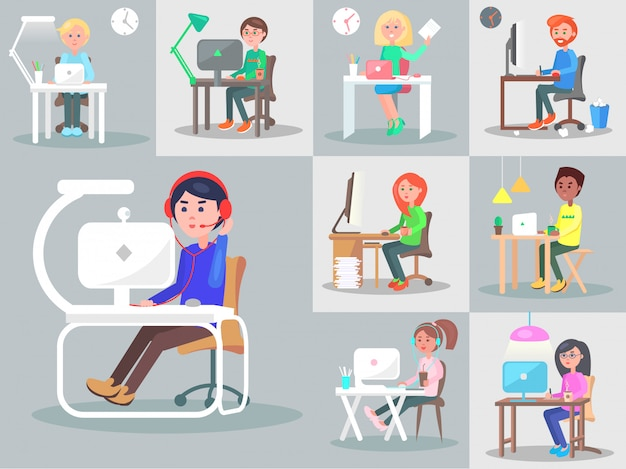 Office workers at the workplace flat vector set