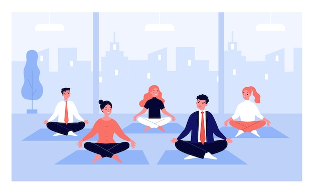 Office workers in yoga group