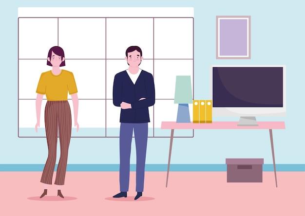 コンピュータデスクでオフィスで働く人々のキャラクター