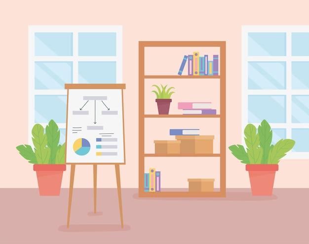 仕事場本棚ボードプレゼンテーション本windowsと植物。
