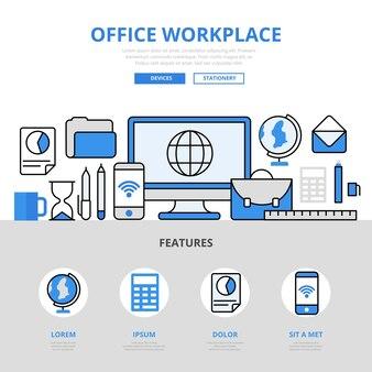 Офисное рабочее место компьютер смартфон устройство образование школа колледж концепция плоская линия стиль.